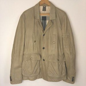 BURBERRY Lambskin Leather Field Jacket Tan Mens L